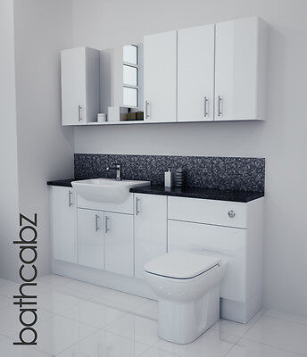 White Gloss Bathroom Fitted Furniture 1800mm With Wall Units / Mirror • 1,085£