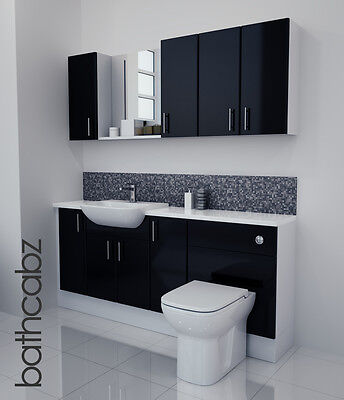 Black Gloss Bathroom Fitted Furniture 1800mm With Wall Units / Mirror • 1,085£