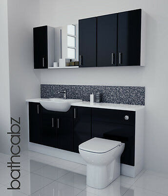 £1085 • Buy Black Gloss Bathroom Fitted Furniture 1800mm With Wall Units / Mirror