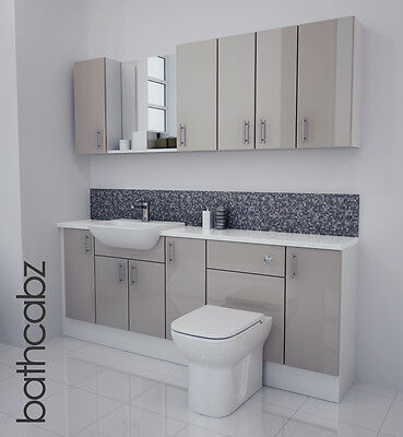 £1250 • Buy Latte Gloss Bathroom Fitted Furniture 2000mm With Wall Units / Mirror