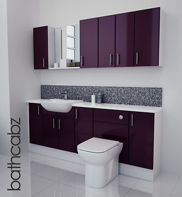 £1250 • Buy Aubergine Gloss Bathroom Fitted Furniture 2000mm With Wall Units / Mirror