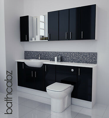 £1250 • Buy Black Gloss Bathroom Fitted Furniture 2000mm With Wall Units / Mirror