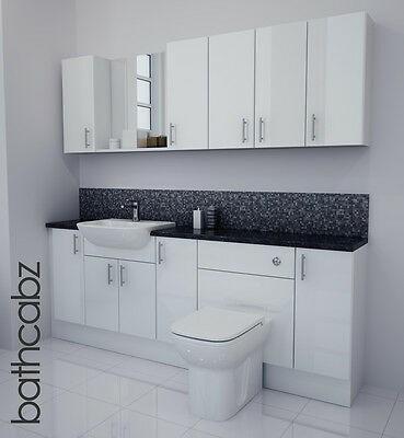 White Gloss Bathroom Fitted Furniture 2100mm With Wall Units / Mirror • 1,250£