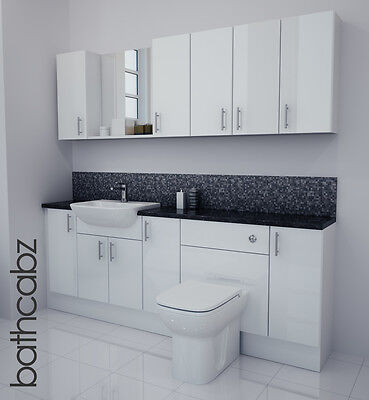 £1250 • Buy White Gloss Bathroom Fitted Furniture 2100mm With Wall Units / Mirror