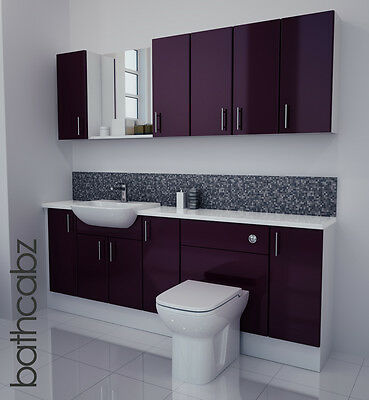 Aubergine Gloss Bathroom Fitted Furniture 2100mm With Wall Units / Mirror • 1,250£