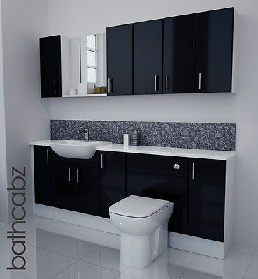 £1250 • Buy Black Gloss Bathroom Fitted Furniture 2100mm With Wall Units / Mirror