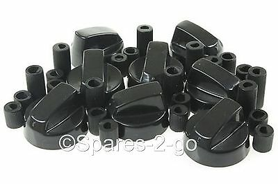 8 X STOVES BELLING & NEW WORLD  Cooker Oven Hob Black CONTROL KNOBS & ADAPTORS • 12.29£