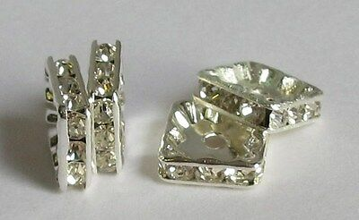 Rhinestone Square Spacer Beads 6 8 10mm Sizes Choice Quantities Crafts/Jewellery • 1.99£