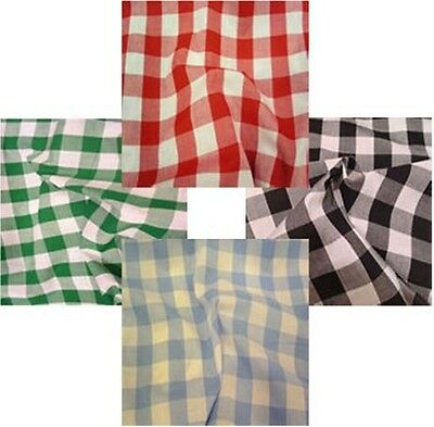 Gingham Poly Cotton Check Table Cloth Cover  Red Orange Green Blue Many Colours • 7.95£