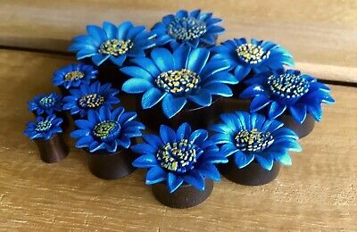 $17.95 • Buy PAIR Blue Leather Flower Plugs Tunnels Gauges Earlets Body Jewelry