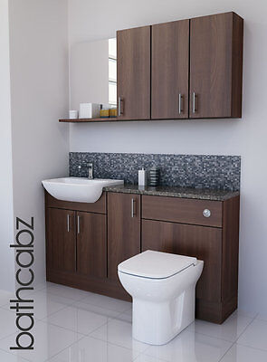 American Walnut Bathroom Fitted Furniture 1500mm With Wall Units / Mirror  • 895£