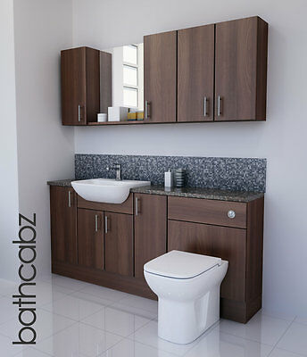 American Walnut Bathroom Fitted Furniture 1800mm With Wall Units / Mirror  • 1,085£