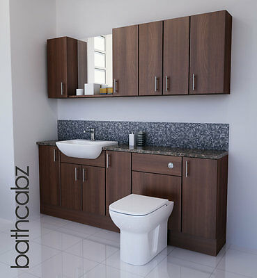 American Walnut Bathroom Fitted Furniture 2000mm With Wall Units / Mirror  • 1,250£