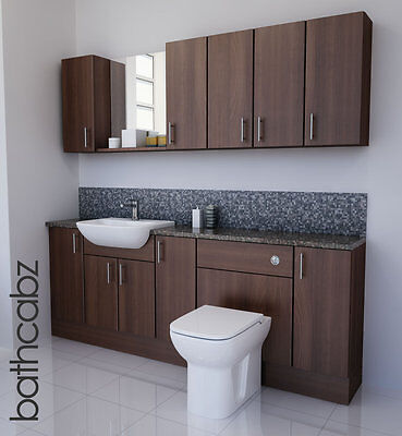 American Walnut Bathroom Fitted Furniture 2100mm With Wall Units / Mirror  • 1,250£