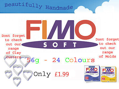 FIMO Soft 56g Polymer Clay 30 Colours 5cm X 5cm Modelling Jewellery Craft Art • 1.65£