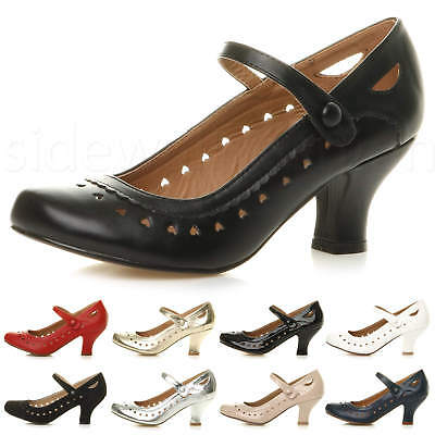 Womens Ladies Low Kitten Heel Mary Jane Style Work Court Shoes Pumps Size • 19.99£