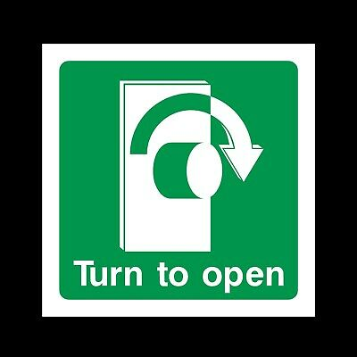 Turn To Open Right Plastic Sign OR Sticker - Fire Exit, Escape, Emergency (EE41) • 0.99£
