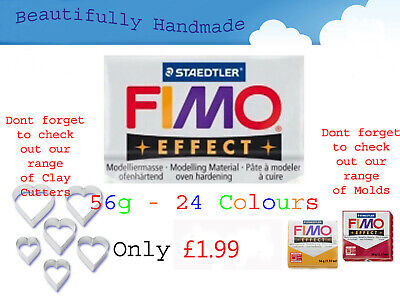 FIMO Effect 56g Polymer Clay 24 Colours Modelling Jewellery Craft 5.5cm X 5.5cm • 1.59£