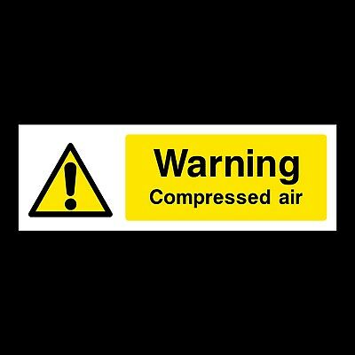 Warning Compressed Air Plastic Sign Or Sticker - 300x100mm (GS2) • 1.29£
