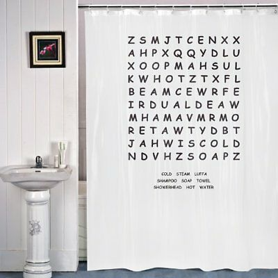 £4.99 • Buy WORD SEARCH Puzzle Novelty Shower Curtain Great Gift Bathroom White Rail Hooks