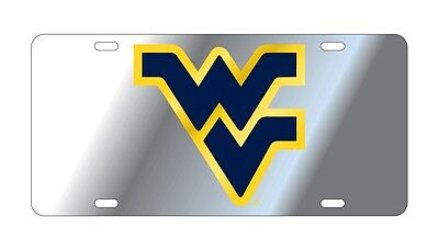 $ CDN30.17 • Buy WVU WEST VIRGINIA UNIVERSITY Mountaineers Silver Mirrored License Plate/ Car Tag