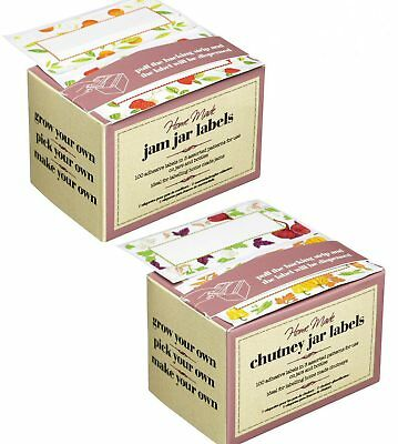 100 PRESERVE JAR LABELS, JAM, PICKLE, CHUTNEY, MARMALADE, Jar & Bottle Labels... • 5.50£
