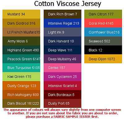 Cotton Viscose Jersey-ITALIAN MADE Material Over 35 Colours, HIGH QUALITY • 8.95£