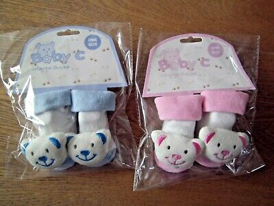 Baby Boy/Girl Bear Design Socks/Booties,Bootee Pink, Blue, One Size 0-6 Months  • 2.50£