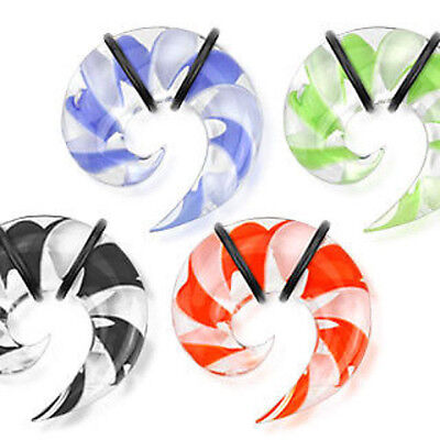 $6.99 • Buy PAIR Pyrex Glass Spiral Tapers Plugs Gauges Blue/Black/Red/Green 6g,4g,2g,0g,00g