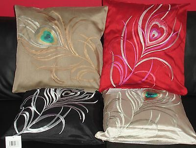 Peacock Cushion Covers 4 Fantastic Colours 18  & 22  Polyester Machine Washable • 5.38£