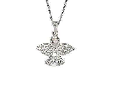 Guardian Angel April Birthstone Necklace Pendant In Crystal In Sterling Silver • 28.99£