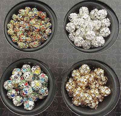 £2.99 • Buy Lovely Round Rhinestone Spacer Beads In Gold Silver Multi Colour 6mm 8mm 10mm