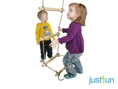 £13.99 • Buy Kids Wooden Rope Ladder 5 Rungs Simple For Climbing Frame Playgrounds