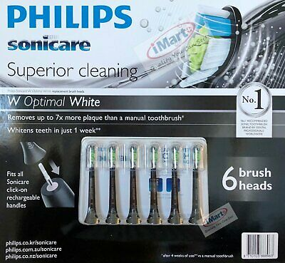 AU59.99 • Buy 6x Philips Sonicare W Optimal White Electric Toothbrush Replacement Heads Black
