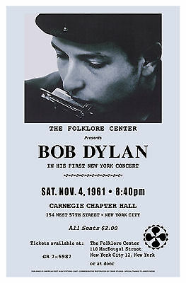 $12 • Buy FOLK: New York Carnegie Hall Concert Poster Featuring Bob Dylan From  1961 15x23