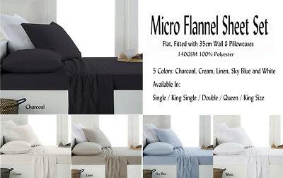AU58.50 • Buy Micro Flannel / Flannelette Fitted Sheet Set Colors Choice For All Bed Sizes