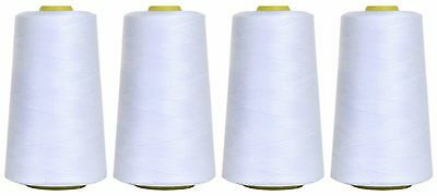 WHITE SEWING THREAD 120s SPUN POLYESTER, OVERLOCKING, 5000 YARDS, X4 CONES • 8.59£