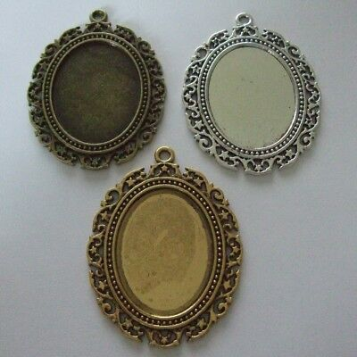 OVAL ANTIQUE SILVER BRONZE GOLD CAMEO CABOCHON PENDANT SETTING 40x30mm TRAY C07 • 2.99£