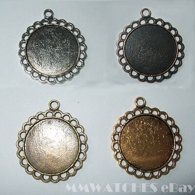 ROUND ANTIQUE SILVER BRONZE GOLD CAMEO CABOCHON PENDANT SETTING TRAY 20mm C13 • 2.49£