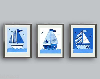 Nautical Sailboat Wall Art For Boy Or Baby—Compliments Bedroom Or Bathroom Decor • 10.75£