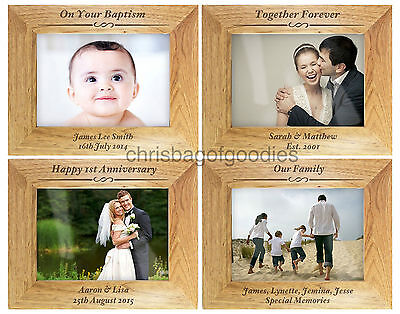 PERSONALISED Engraved WOODEN Wood Photo Picture FRAME Gifts For Frames Gift Idea • 24.50£