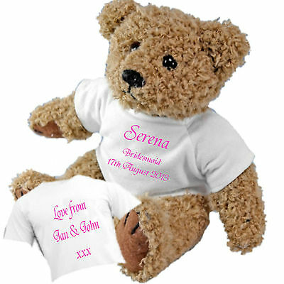 £11.95 • Buy Personalised Teddy Bear For Flower Girl Page Boy Bridesmaid + Option Of Gift Bag