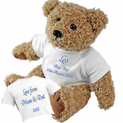 £11.95 • Buy Personalised Teddy Bear For Page Boy Bridesmaid Flower Girl + Option Of Gift Bag