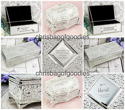 PERSONALISED Engraved JEWELLERY BOX Gift For Valentines Day WEDDING Her Present  • 37.99£