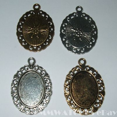 NEW OVAL SILVER BRONZE COLOR CAMEO CABOCHON PENDANT SETTING TRAY 18mm X 13mm C18 • 3.49£