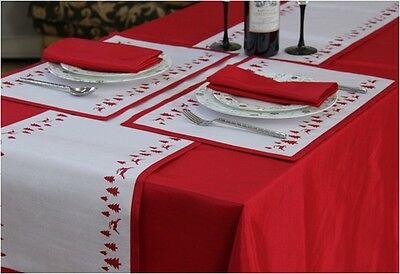Christmas Yuletide Reindeer/Tree Red Table Cloths, Runners, Placemats, Napkins • 12.34£