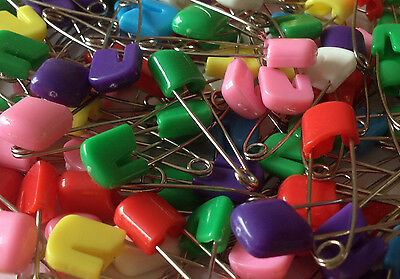 Mixed Coloured Baby Nappy Diaper Cloth Pins 40mm Safety Pins Nappies Craft Clips • 1.95£