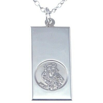 Silver Ingot St Saint Christopher Pendant Chain Necklace With 18  Chain & Box • 21.99£