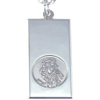 Silver Ingot St Saint Christopher Pendant Chain Necklace With 18  Chain & Box • 26.99£