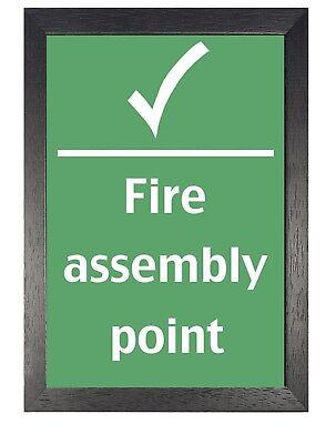 £10.99 • Buy Health And Safety Fire Assembly Point Poster Careful Cover Life Photo Green